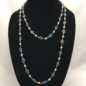 Stunning Blue Crystal & Pearl Wrap Necklace